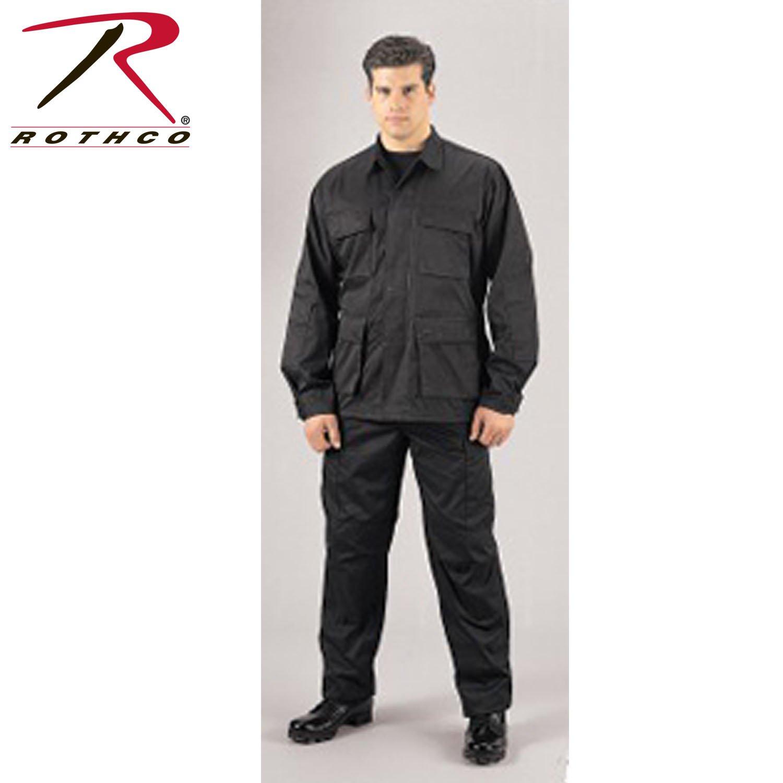 Rothco Bdu Shirt, Black, Large