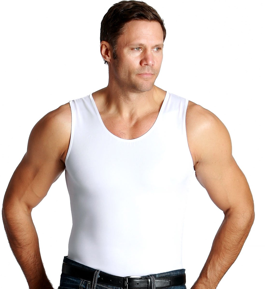 Insta Slim 3 Pack Muscle Tank, Look Up to 5 Inches Slimmer Instantly, White, Large, The Magic is in The Fabric!
