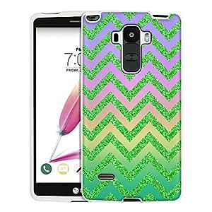 LG G Stylo Case, Snap On Cover by Trek Rainbow on Chevron Glitter Green Case