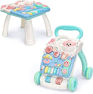 Sit to Stand Learning Walker, Beginnings Activity Walker with Musical and Light, Adjustable Speed, Transform into Game Table