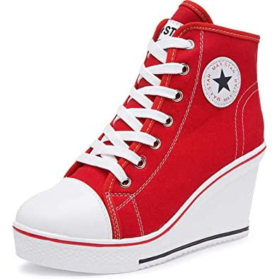 """ad4413f67ebe29 High Heel Canvas Wedge Sneakers – Trendy   Comfy Sneakers with 1"""" Wedge  Heels for Women   Girls – Ankle Zipper   Lace Up High Heel Cotton Tennis  Shoes"""