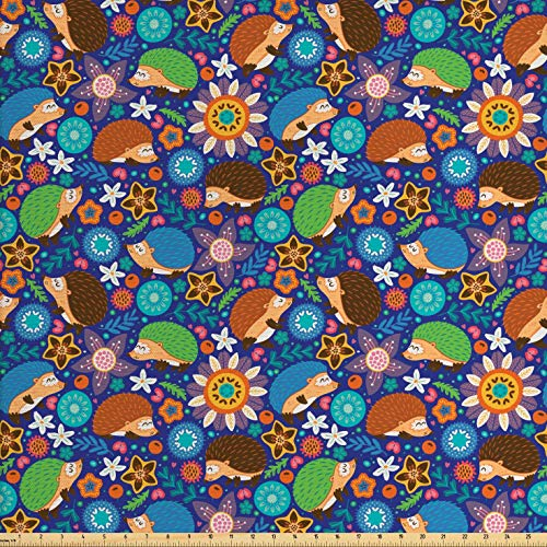 (Lunarable Animal Fabric by The Yard, Cute Cartoon Hedgehogs Living in Fantasy Forest Pattern with Flowers Branches Leaves, Decorative Fabric for Upholstery and Home Accents, 1 Yard,)