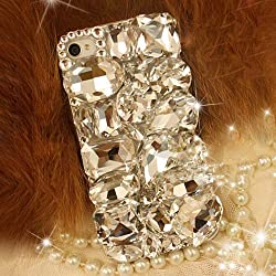 XDAYS(TM) 3D Bling Shine Diamante Shaped Diamond Stones Crystal Hard Phone Case Cover For Smart Mobile Phones(Alcatel One Touch Fierce XL 5054)