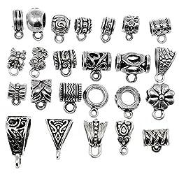 RUBYCA 96Pcs Mix Tibetan Silver Color Connectors Bails Beads fit European Charm Bracelet Pendant