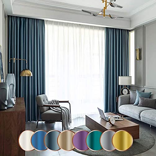 MacoHome Loft Silk Curtain Light Blocking Extra Long Bedroom Curtains, Haze Blue 100 x 102 inch x 1 Panel
