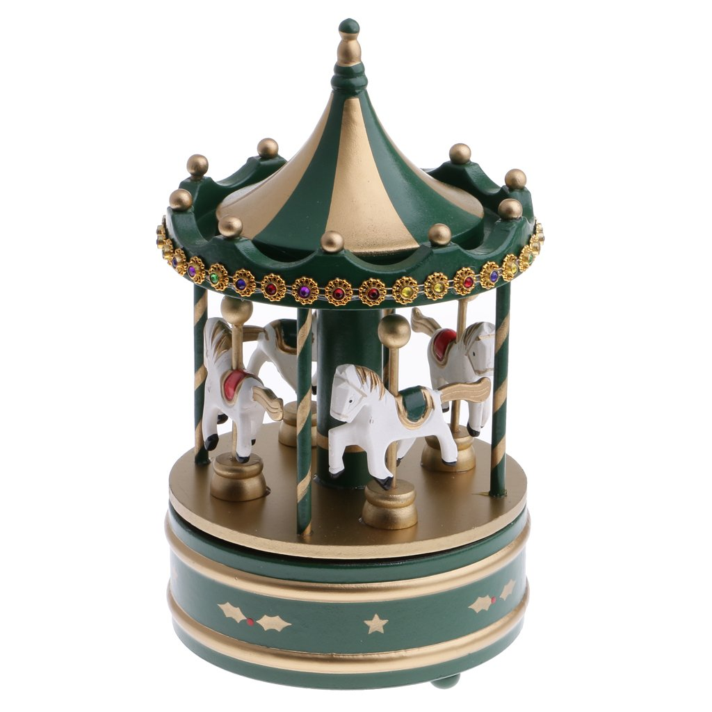 MagiDeal Wooden Carousel 4 Horses Merry-Go-Round Wind-Up Mechanical Music Box Toy Home Christmas Decor Ornament Xmas Gift - Dark Green, as described