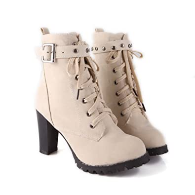 Womens Closed Round Toe High Heels PU Soft Material Solid Boots with Chunky Heels and Bandage
