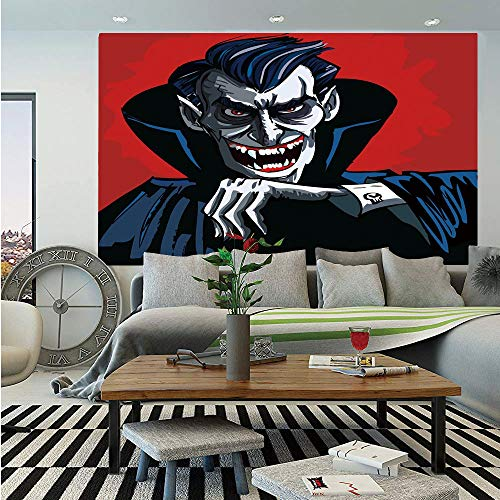 SoSung Vampire Huge Photo Wall Mural,Cartoon Cruel Old Man with Cape Sharp Teeth Evil Creepy Smile Halloween Theme,Self-Adhesive Large Wallpaper for Home Decor 108x152 inches,Blue Red Grey -