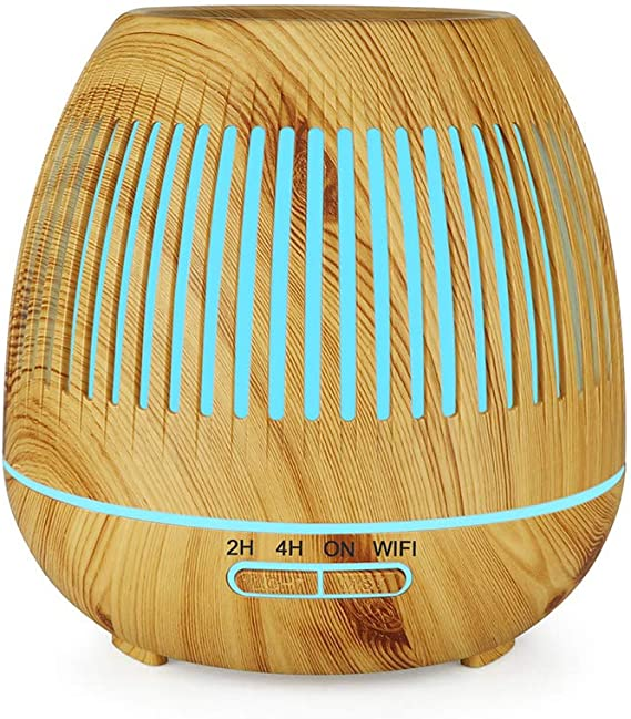 Irfora オイルディフューザー YX130エッセンシャルオイルディフューザー400 mlクールミスト加湿器木目アロマ加湿器7色変更気分ライトウォーターレス自動シャットオフリモートコントロール