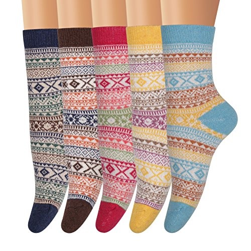 Ofeily Winter Socks 5 Pairs Women Vintage Wool Socks Thick Knit Warm Comfort Socks (ZYX-00105C)
