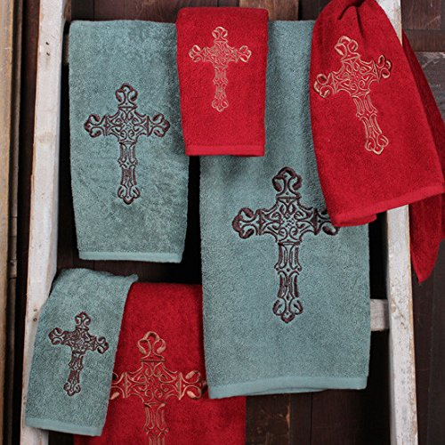 Embroidered Cross Western Towel Set, Red Rod' s