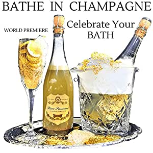 "24k Gold Champagne Bubble BATH BOMB IN A BOTTLE is the Best Bubble Bath Champagne Gift Set. A New Luxury Bath Just Popped on the Scene ""Literally"" BISOU PASSIONNE Bathe in a Golden Champagne Bath."