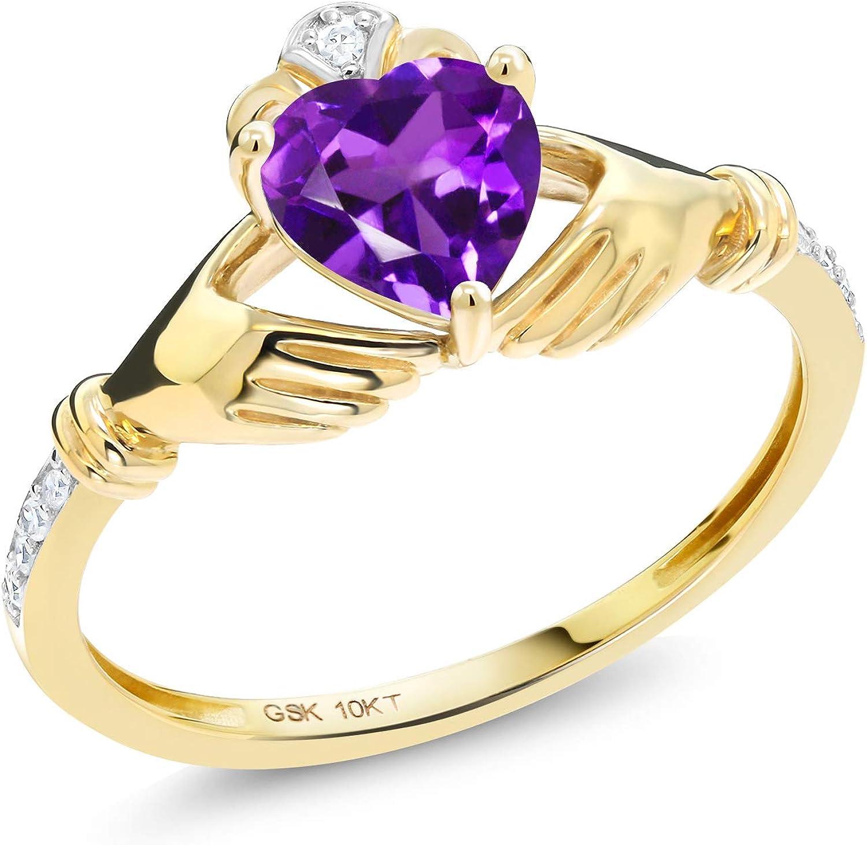 Gem Stone King 10K Yellow Gold Irish Celtic Claddagh Purple...