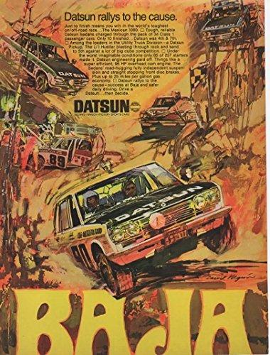(Magazine Print Ad: 1970 Datsun Li'l Hustler Pickup Truck Sedan, Baja Rally Race, Artist David Negron)