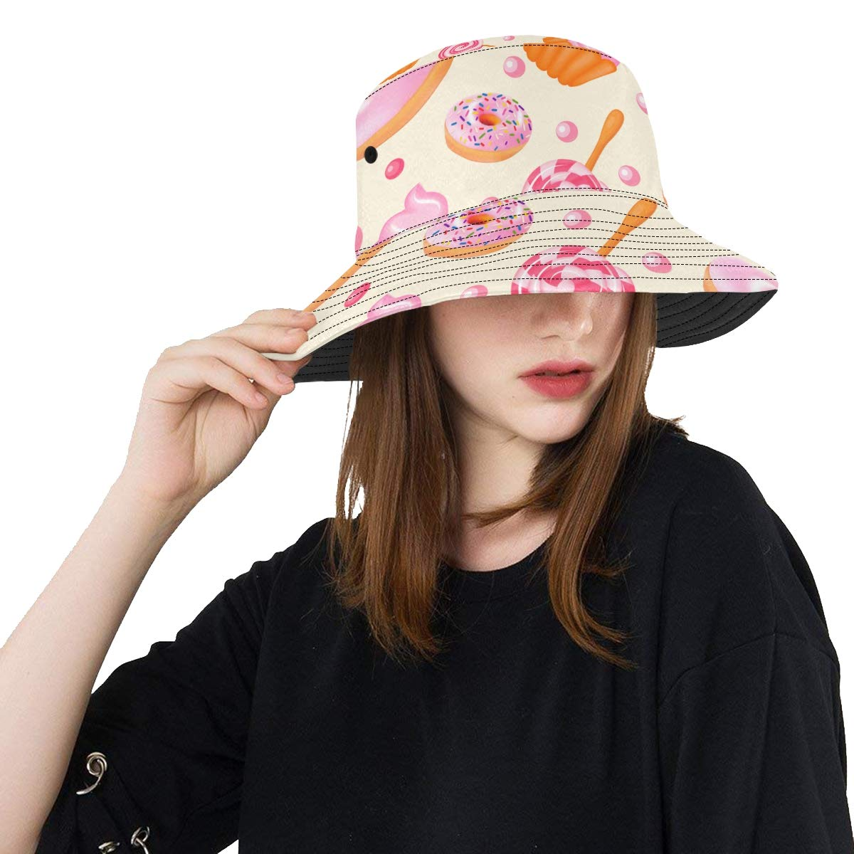 Yummy Sweet Candy Dessert New Summer Unisex Cotton Fashion Fishing Sun Bucket Hats for Kid Women and Men with Customize Top Packable Fisherman Cap for Outdoor Travel Teens