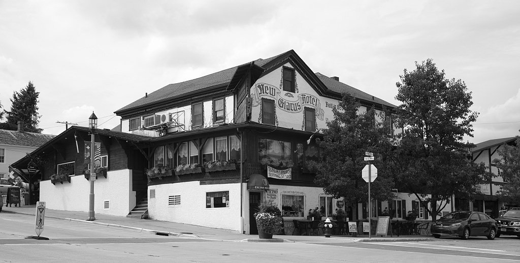 18 x 24 B&W Photo of The Swiss-style New Glarus Hotel in New Glarus, Wisconsin, a town largely settled by Swiss settlers that now (2016) calls itself ''America's Little Switzerland'' 2016 Highsmith 63a