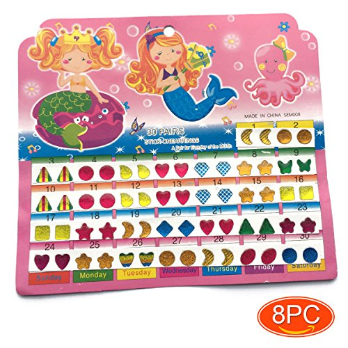 Elesa Miracle Girl Party Favor Pretend Play Princess Jewelry 8 Cards Stick on Earrings, Sticker Jewels