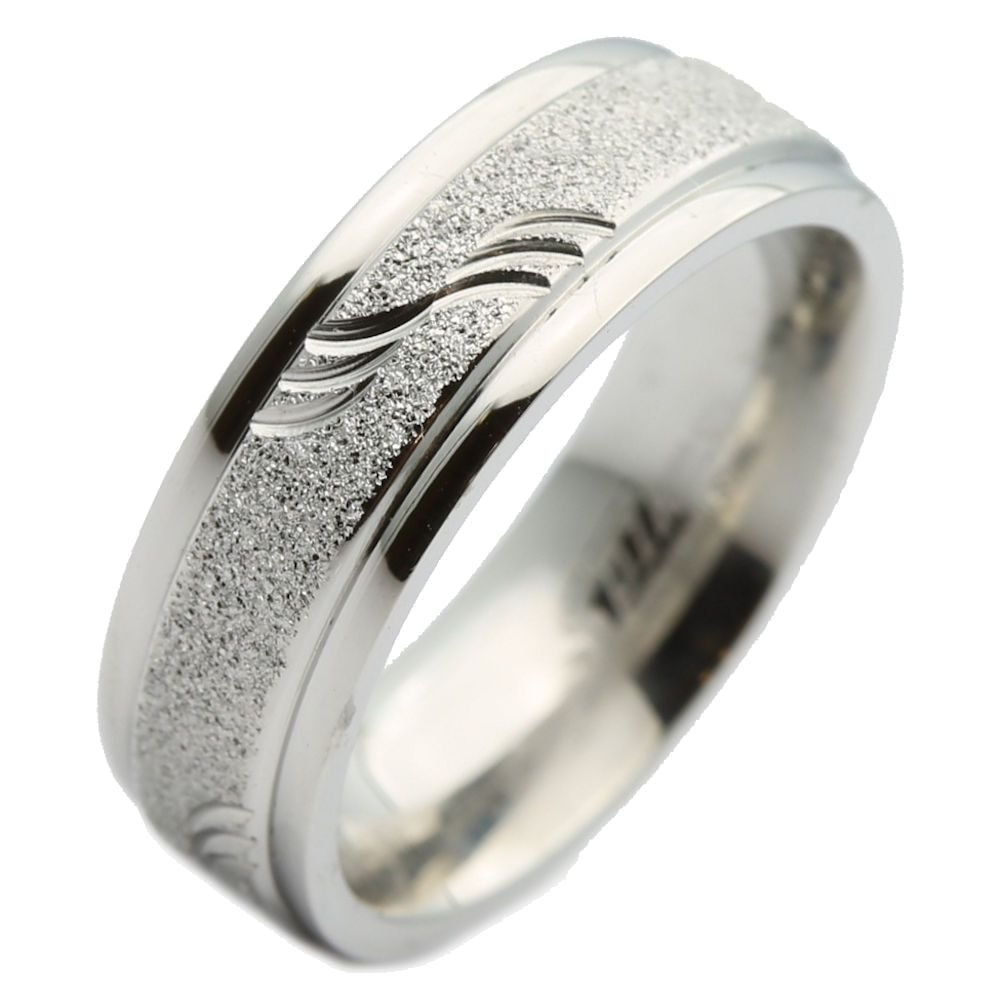 Amazon 8mm Stainless Steel Sandblasted Ring With Wave Pattern Wedding Band Spikes Jewelry: Wave Pattern Wedding Ring I Do At Websimilar.org