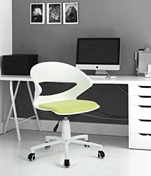 Fitathome Chaise De Bureau Fauteuil Hauteur Réglable Roulettes Pivotantes Plastique Pp Blanc Tissu Vert Anis