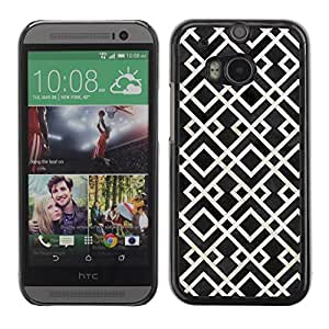 Be Good Phone Accessory // Dura Cáscara cubierta Protectora Caso Carcasa Funda de Protección para HTC One M8 // Pattern White Black Vintage Wallpaper
