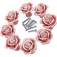 Knoppen, 8 elegante wit/roze roos trekt bloemen keramische kast knoppen kast lade trekgrepen + schroef roos
