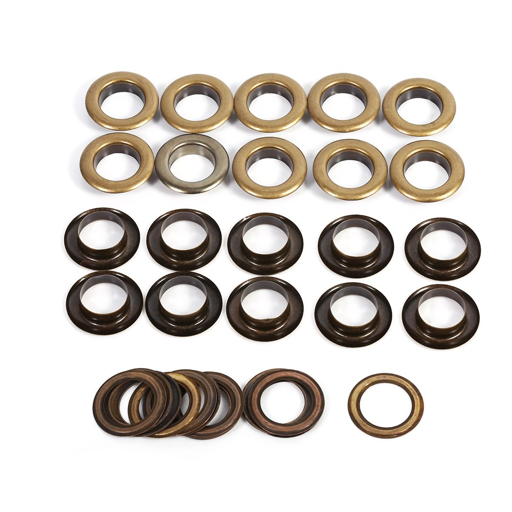 Leather Craft DIY Eyelet Grommets Kit with Washers for Leather Canvas Clothes Belts Shoes Antique Brass Eyelet Grommets 14mm 20sets