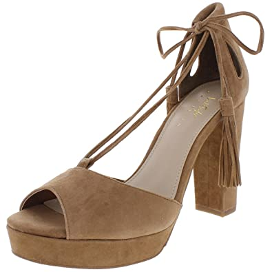31f78124ac9f 424 Fifth Womens Mara Suede Heels Dress Sandals Brown 8.5 Medium (B