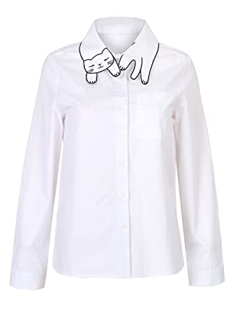 Joeoy Women's Printed Cat Pattern Collar Long Sleeve Button Down ...