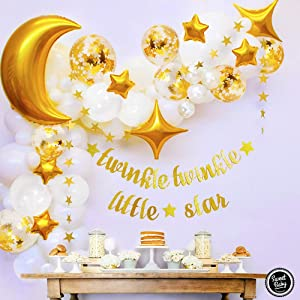 Sweet Baby Co. Twinkle Twinkle Little Star Baby Shower Decorations for Boy or Girl with Balloon Garland Arch Kit, Moon and Stars Light Decoration Balloons, Party Banner for Wedding Decor, Gender Reveal Backdrop, Christmas
