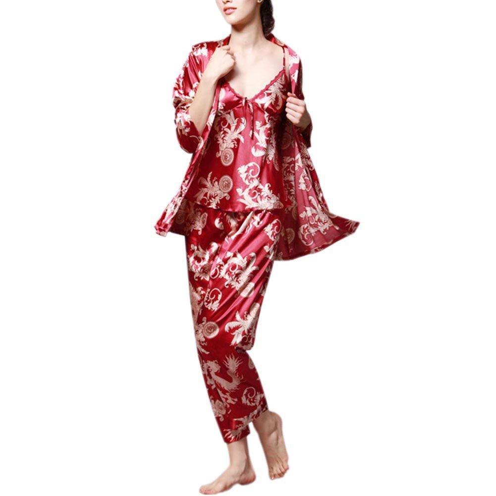 94cf5f21f4 Hankyky Womens Pajamas 3PCs Suit Silk Satin Dragon Print Pajamas Set  Sleepwear at Amazon Women s Clothing store