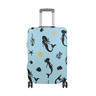 Elastic Travel Luggage Cover Cute Mermaids Suitcase Protector for 18-20 Inch Luggage