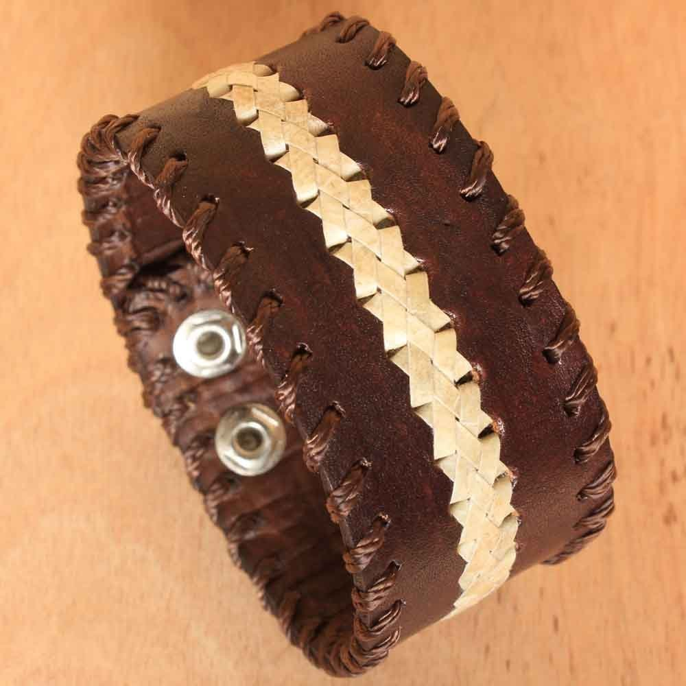 Brown Leather Cuff Bracelet with Woven Accent Accessory for Men Handmade Fair Trade Jewelry