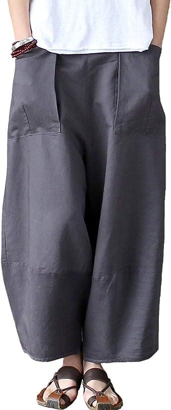 Aeneontrue Mujer Pantalones Algodón Lino Ancho Piernas Casual Alta Color Sólido con Grandes Bolsillos con Cintura elástica Gris M: Amazon.es: Ropa y accesorios