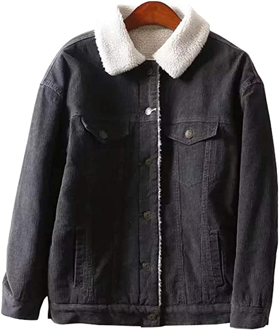 Gihuo Womens Vintage Corduroy Sherpa Fleece Lined Jacket Thickened Warm Quilted Jacket
