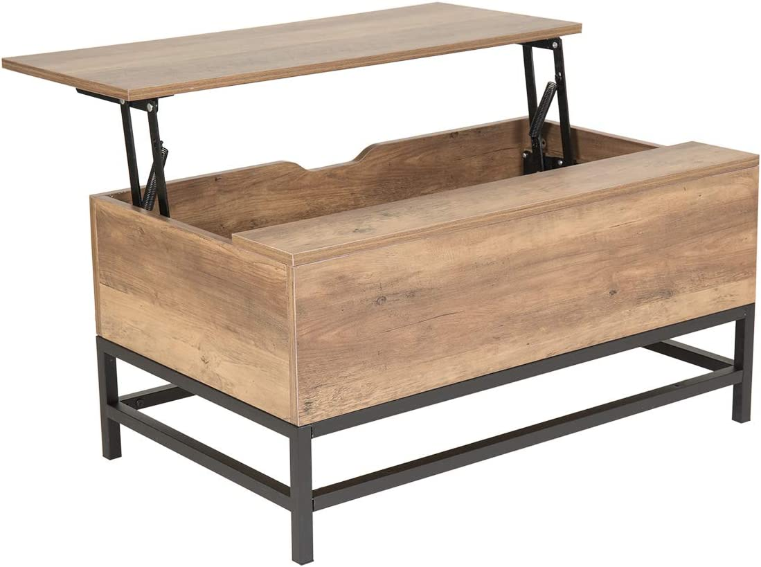Wonderhome Table Basse en Bois avec Table de Levage avec tiroir de  Rangement pour Salon et Bureau (Marron foncé)