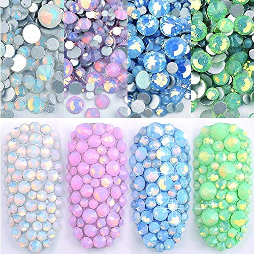 Stones Sparkly - DAODER 4pack Sparkly Opal Rhinestones for Nails 3D Nail Art Rhinestones Kit Crystal Diamond Rhinestones and Charms Nail Decoration Flatback Gems Stones Pink White Blue Green Nail Jewels Crafts DIY
