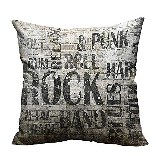 YouXianHome Decorative Throw Pillow Case Wall with Punk Jazz Rock Metal Garage Soft Blues Folk Artsy Murky Graphic Ideal Decoration(Double-Sided Printing) 21.5x21.5 inch ()