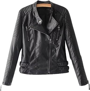 Chartou Womens Premium Stand-up Collar Zip-up Metallic Leather Jacket