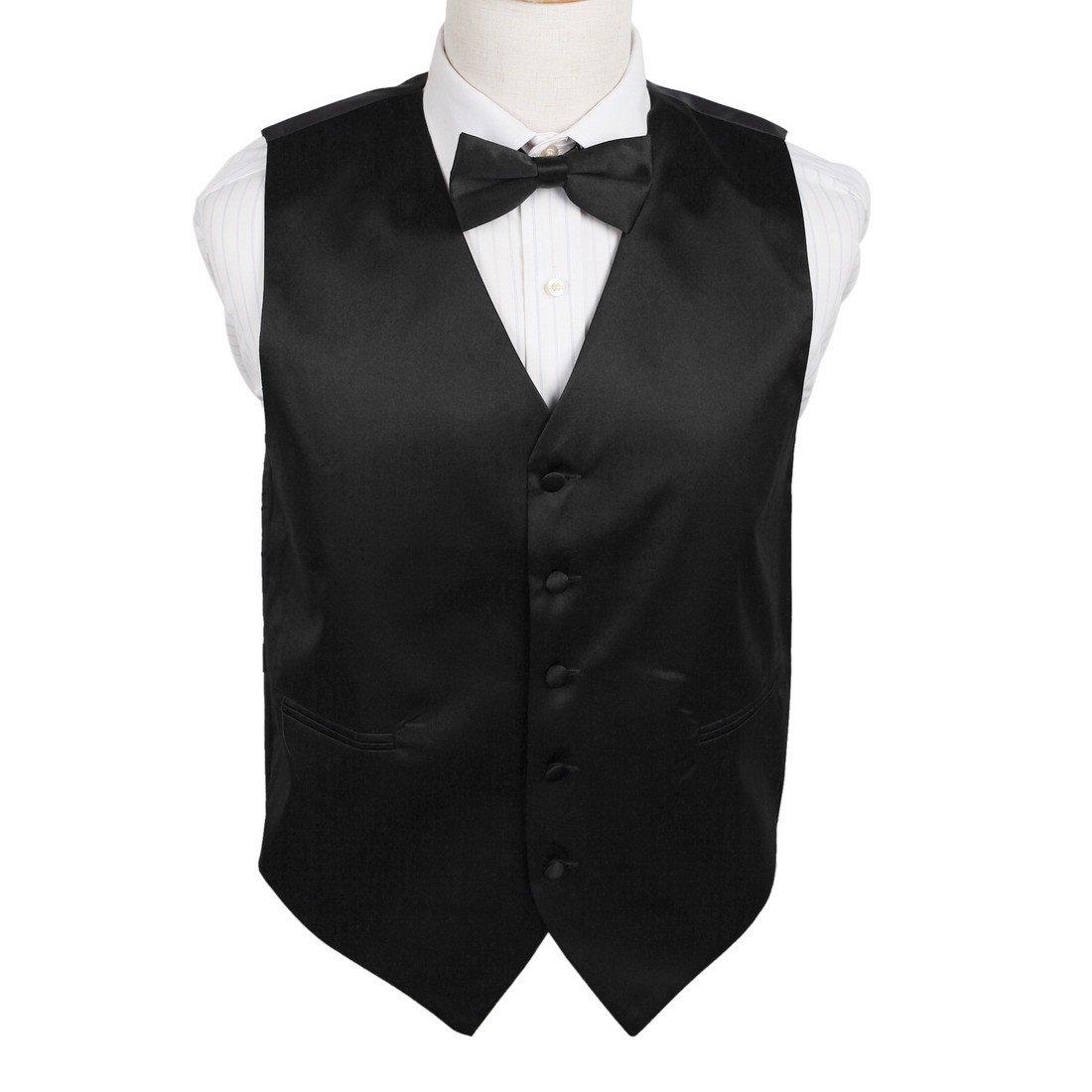 Dan Smith DGEE0001-S Black Plain Microfiber Party Tuxedo Vests Satin Luxury for Evening Vest Matching Bow Tie
