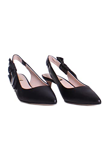 5538263f374 Louise et Cie Jasilen Leather Bow Applique Kitten Heel Pumps in Black Size 6