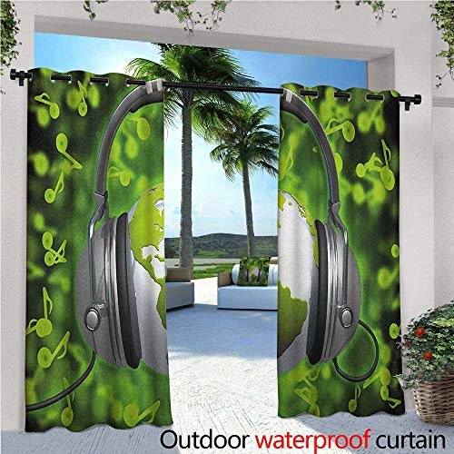 World Balcony Curtains World of Music Themed Composition DJ Headphones Musical Notes and Earth Globe Outdoor Patio Curtains Waterproof with Grommets W72 x L84 Lime Green ()