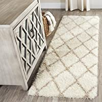 Safavieh Montreal Shag Collection SGM831F Ivory and Beige Runner (2'3' x 7')