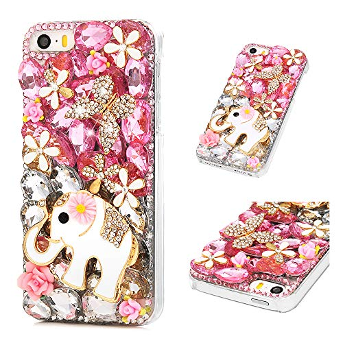 Mavis's Diary iPhone SE Case, iPhone 5 Case, Full Edge 3D Handmade Luxury Bling Crytal Fashion Design Shiny Gem Pearl Rhinestone Diamond Clear Hard Protective Plastic PC Cover - Elephant