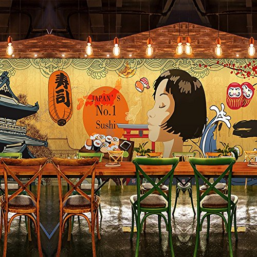 Colomac Wall Mural Japanese Retro Architecture Cartoon Characters Mural Suitable for Japanese Restaurant Cafe Wallpaper 196.8 Inch x 78.8 Inch by colomac (Image #1)