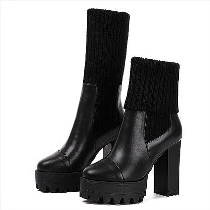 GTVERNH Moda/Zapatos de Mujer/Botas Cortas Martin Botas Terciopelo Calcetines Botas 11Cm De