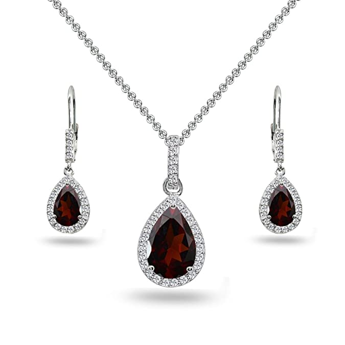 Fine Jewelry Simulated Diamonds Amethyst Halo Dangle Sterling Silver Earring & Necklace Set Fine Jewelry Sets
