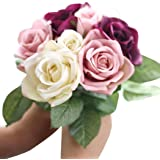 Outtop 9 Heads 10.6 Inch Rose Artificial Flowers Bouquets Fake Flower for Decoration 10.6 inch Beige