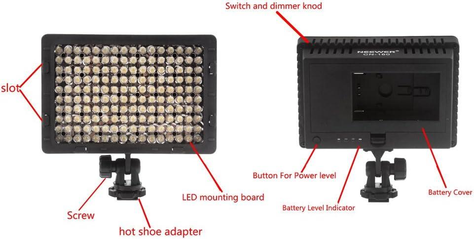 Faretto Dimmerabile Diffusore//Pieghevole//Batteria Ricaricabile con Caricabatterie a Micro USB per Canon Nikon ecc. Neewer Kit di Luce Pannello LED per Camere Digitali