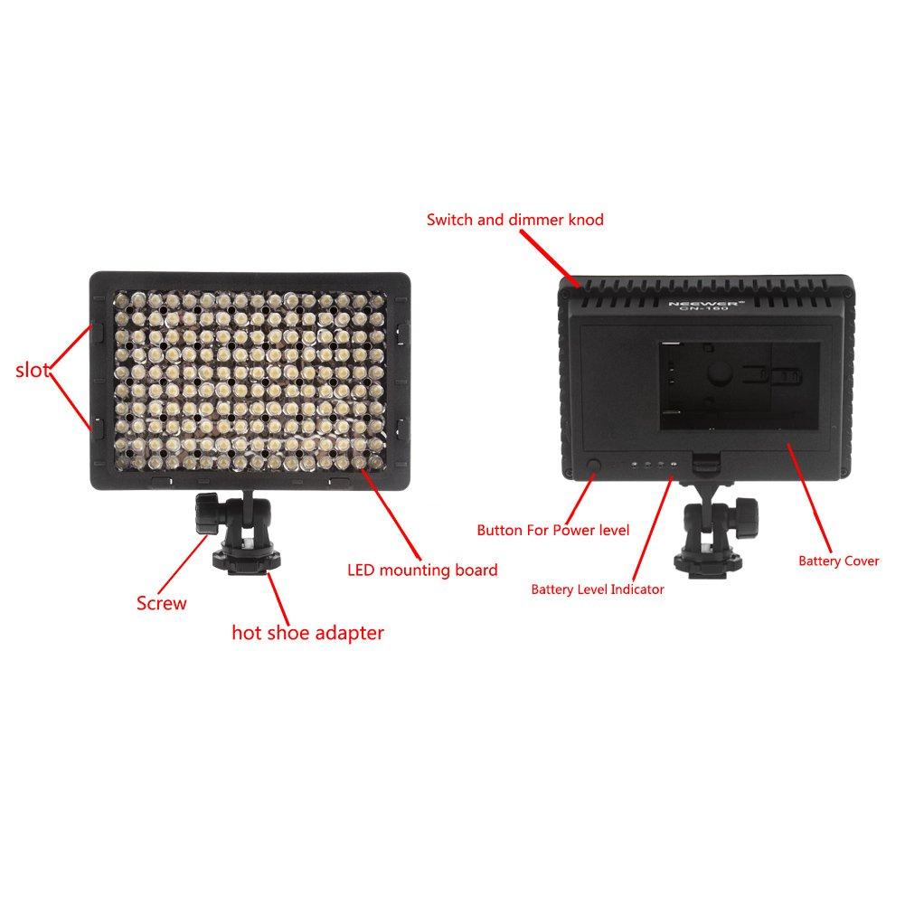 amazon com neewer 160 led cn 160 dimmable ultra high power panel digital camera camcorder video light led light for canon nikon pentax panasonic