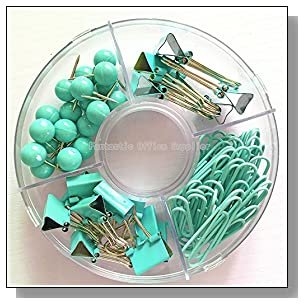 65 PCS Blue Push Pins/Paper Clips/Binder Clamps/Binder Clips, Blue Office Supplies Bulletin Boards Thumb Tacks Set Desk Accessories for School Supplies